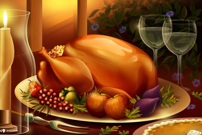 thanksgiving dinner meal large roasted turkey food candles wine pie holiday  desktop wallpaper