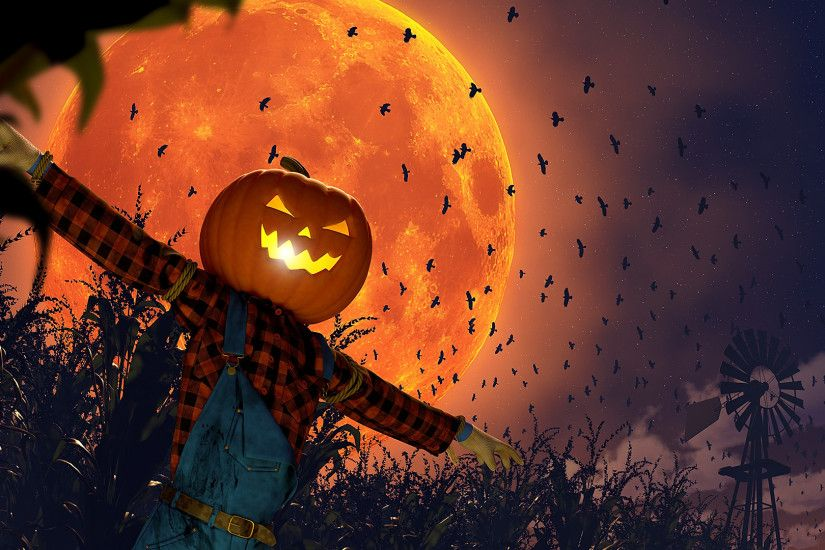 Holiday - Halloween Holiday Scarecrow Jack-o'-lantern Bat Moon Wallpaper