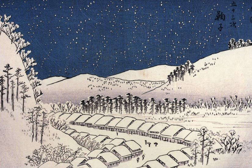 "Photo 16 Nov 20 notes · ""Snow falling on a town"" by Hiroshige Utagawa. """