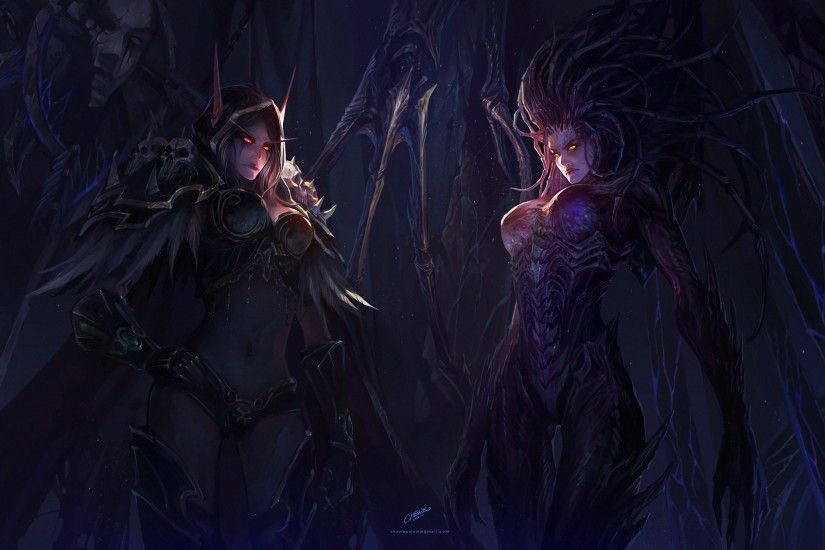 Girls World of Warcraft StarCraft chenbo Sarah Kerrigan Art Sylvanas  Windrunner dark demons fantasy women females