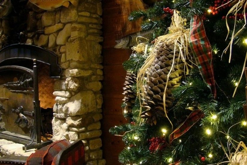 1920x1080 Wallpaper tree, toys, christmas garland, christmas, holiday,  fireplace, cones
