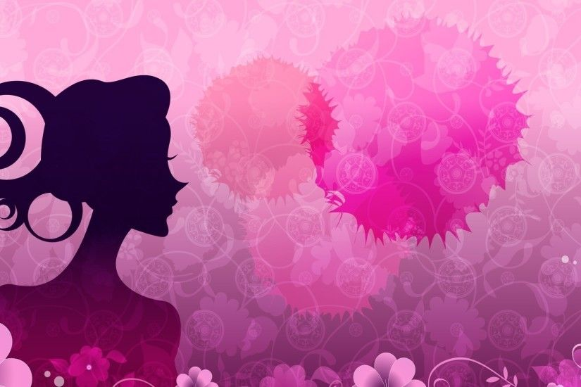 Woman silhouette by the pink flowers wallpaper