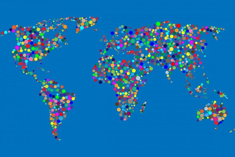 Colorful Circles World Map With Background 3