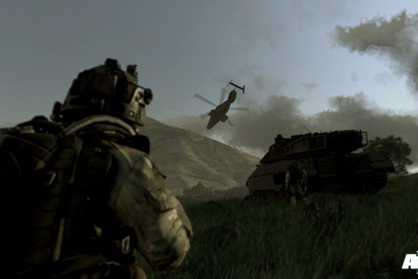 1920x1080 Wallpaper arma 3, soldiers, tank, helicopter, mountain