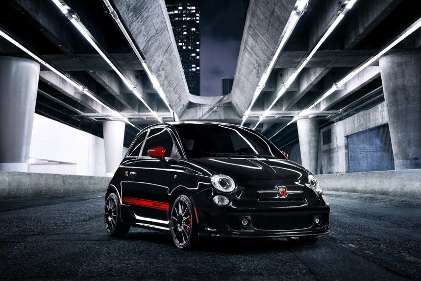 Fiat 500 Abarth Black Wallpaper Wide - http://hdcarwallfx.com/fiat