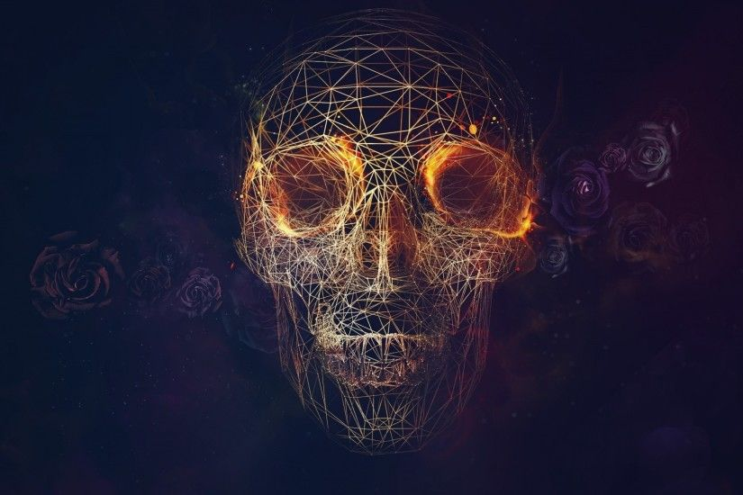 1920x1080 Wallpaper skull, lines, roses, geometry