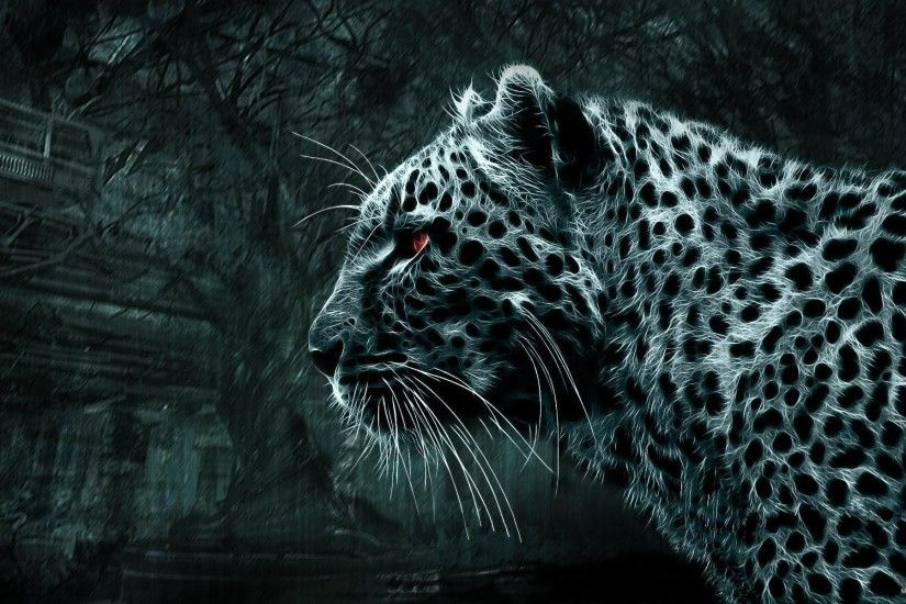images 3d wild cat leopard watches red eyes black white picture