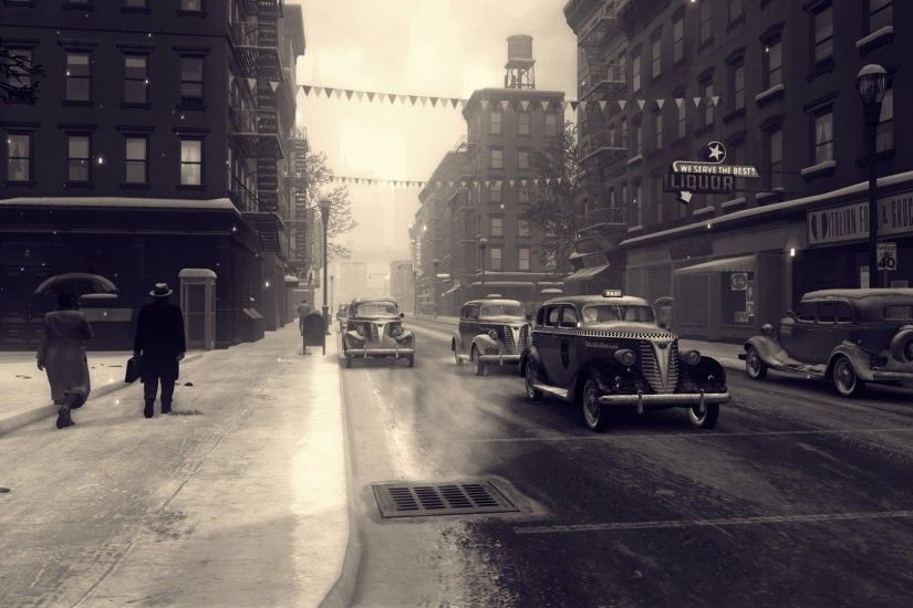 1920x1080 - mafia 2, monochrome, city, cars, road, snow # original