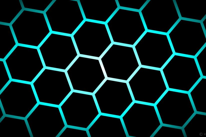 wallpaper glow hexagon black blue white gradient aqua cyan #000000 #ffffff  #00ffff diagonal