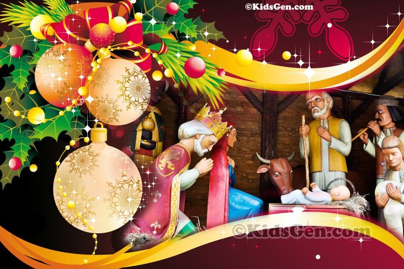 A wonderful high definition wallpaper of Christmas decoration featuring  birth of Jesus Christ.