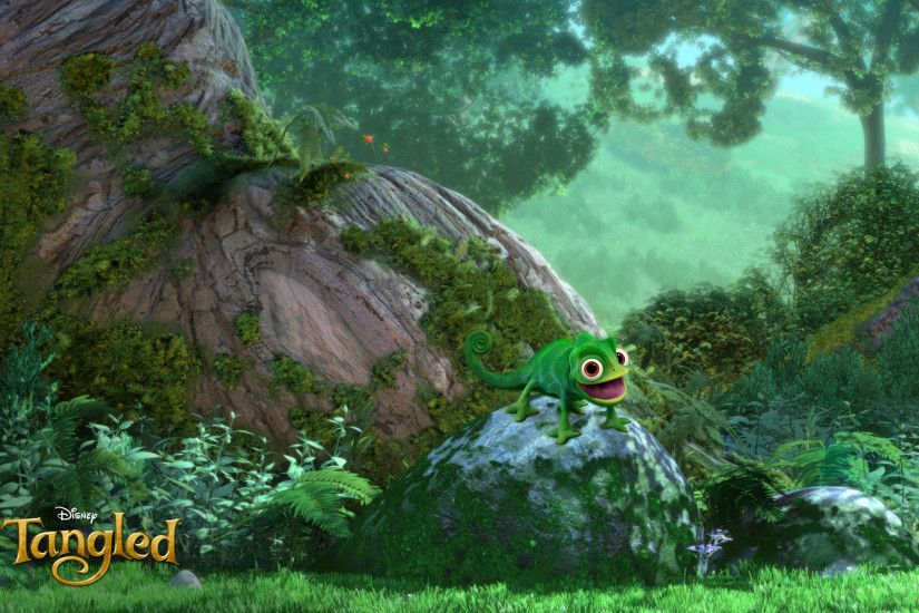 Pascal the chameleon lizard reptile perching on a rock from Disney's CG  animated movie Tangled wallpaper