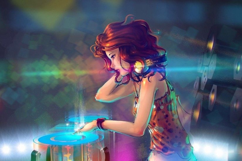 headphones, Colorful, Redhead, Music, Anime, Red, DJ, Turntables,  Interfaces, Red (Transistor), Anime Girls Wallpapers HD / Desktop and  Mobile Backgrounds