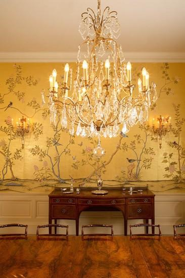 Chinoiserie wallpaper 'Badminton' design in standard design colours on 22  Carat Gold gilded silk. Carlton chandelier by Christopher Hyde, KG  Photography.