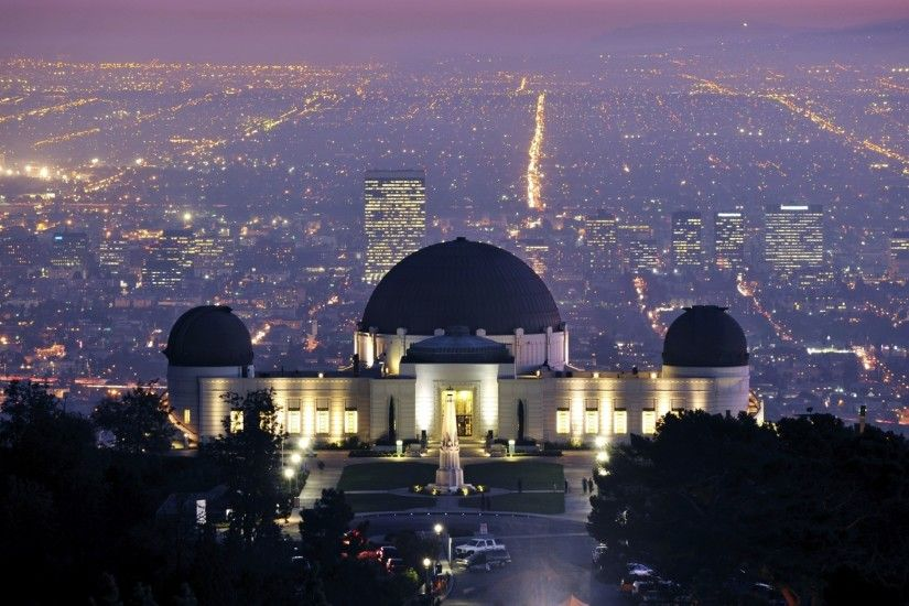 Preview wallpaper griffith observatory, los angeles, california, evening,  city lights 3840x2160
