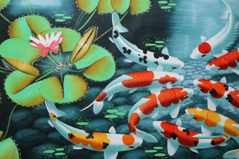 1366x768 Koi Fish Artwork Wallpaper wallpaper