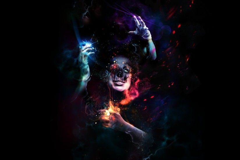 2560x1440 Wallpaper man, hands, horror, colorful, dark, skull, dressings