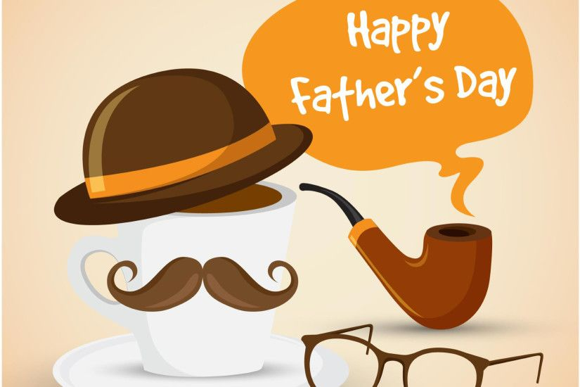 Father's day background with cup of coffee with hat and mustache