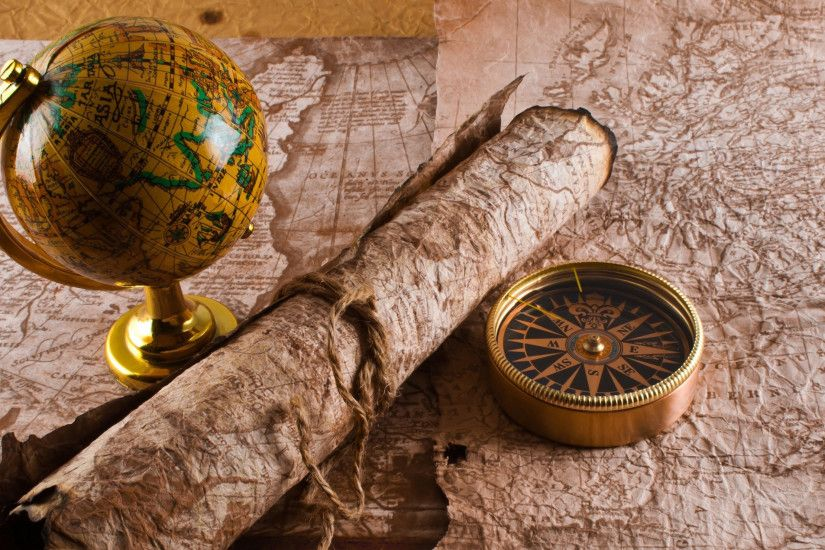 3840x2160 Wallpaper globe, map, table, travel