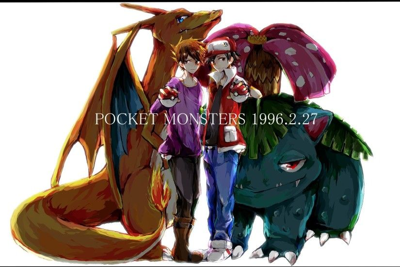 Pokemon - The Origin Wallpaper Red and Green by Lizardona on .