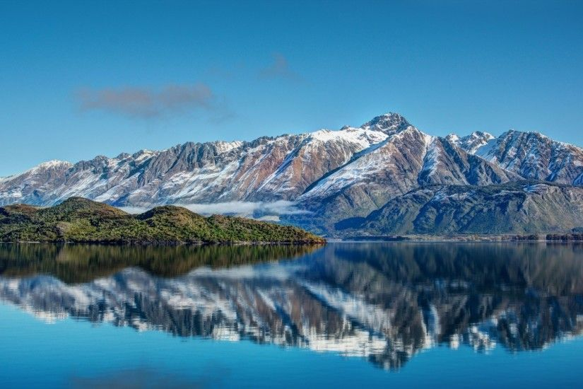 Preview wallpaper new zealand, mountains, river, sea, sky, landscape  1920x1080