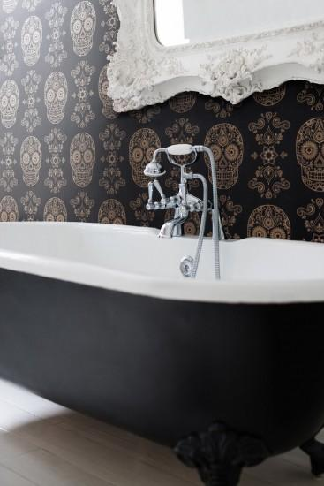Image of Day of the Dead Sugar Skull Wallpaper - Black ...