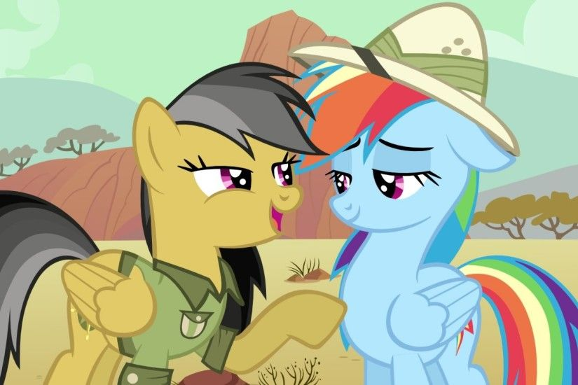 Preview wallpaper my little pony, pony, rainbow dash, daring do 2560x1080