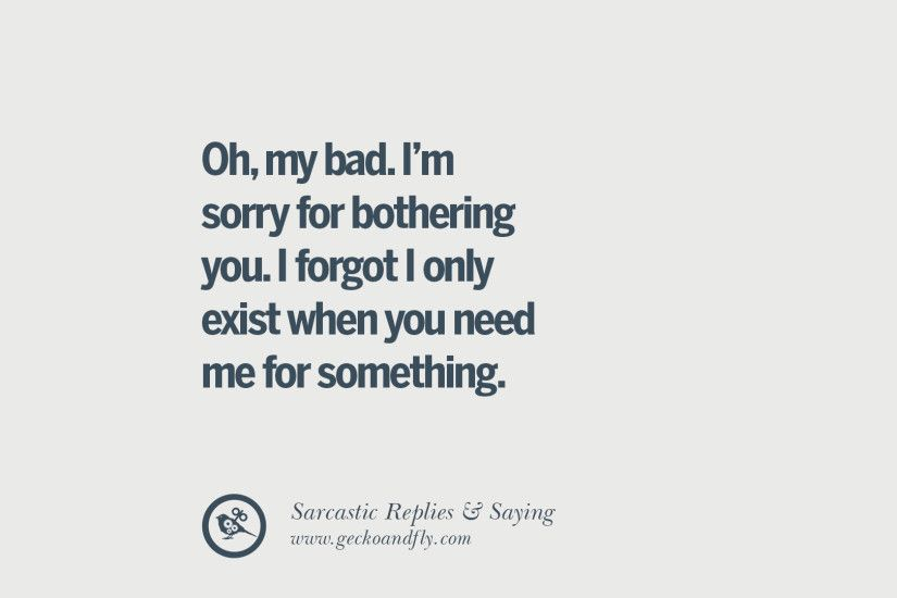 I'm sorry for bothering you. I forgot I only exist when you need me for  something.