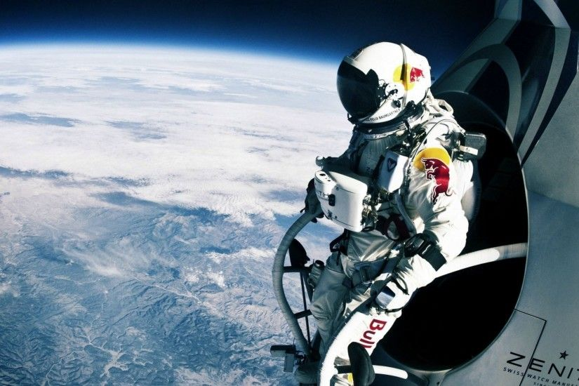felix baumgartner jump athlete red bull space red bull stratos parachute  download wallpapers widescreen download wallpapers
