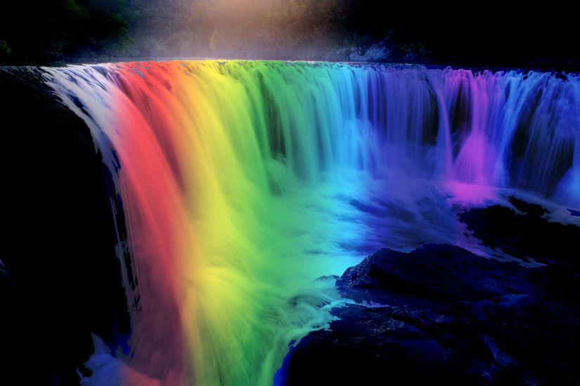 Waterfall And Rainbow Image For Desktop Wallpaper 1920 x 1200 px 692.31 KB  tropical hd rainforest