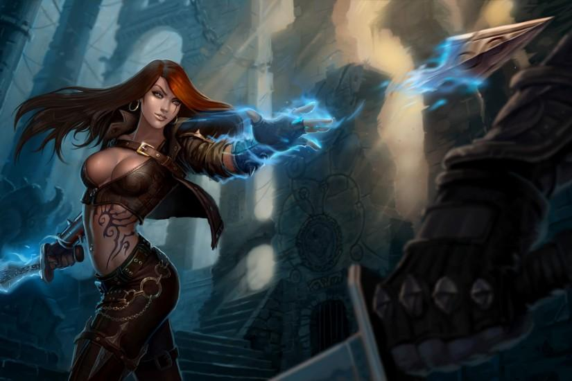 League of Legends Magic katarina Redhead girl Games Girls Fantasy warrior  wallpaper