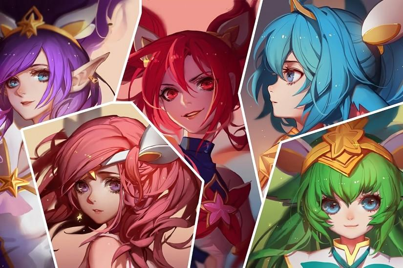Download wallpaper Star Guardian Jinx, Lux, Janna, Poppy and Lulu full HD on