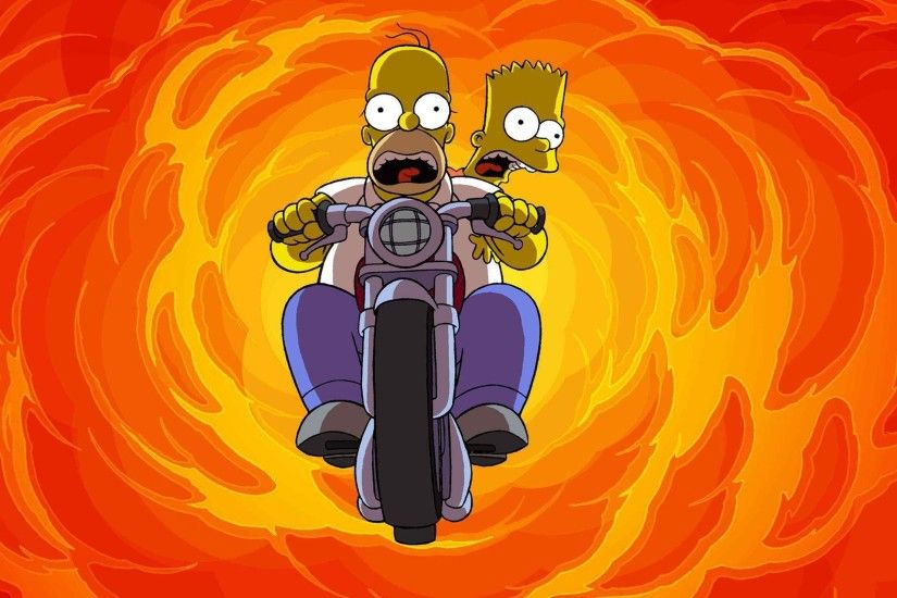 Free homer and bart motorcycle jump wallpaper background
