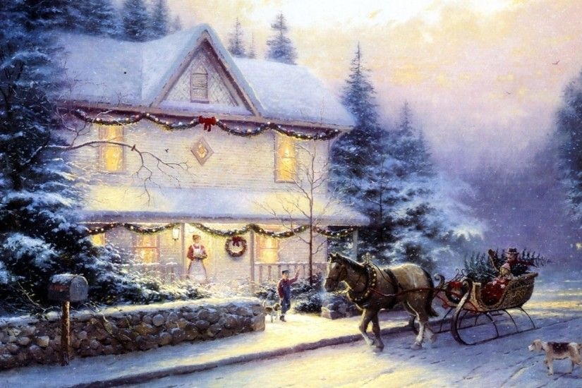 Thomas Kinkade, Painting, Picture, Holiday, Victorian Christmas Iv,  Christmas