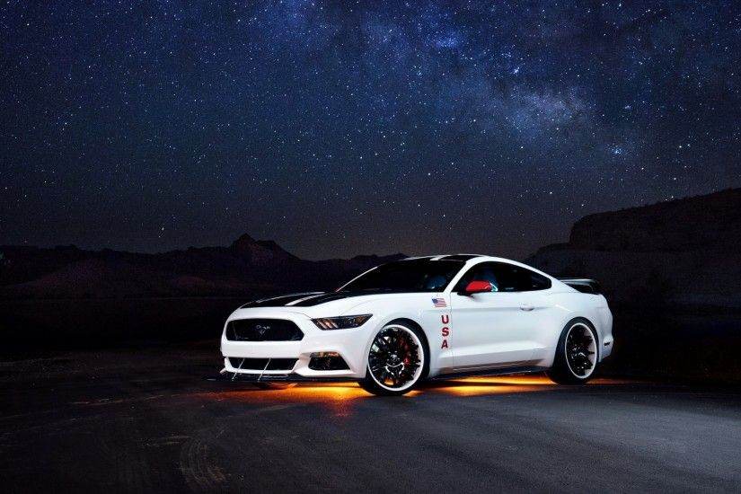 1920x1080 Preview wallpaper ford, mustang, white, side view, night 1920x1080