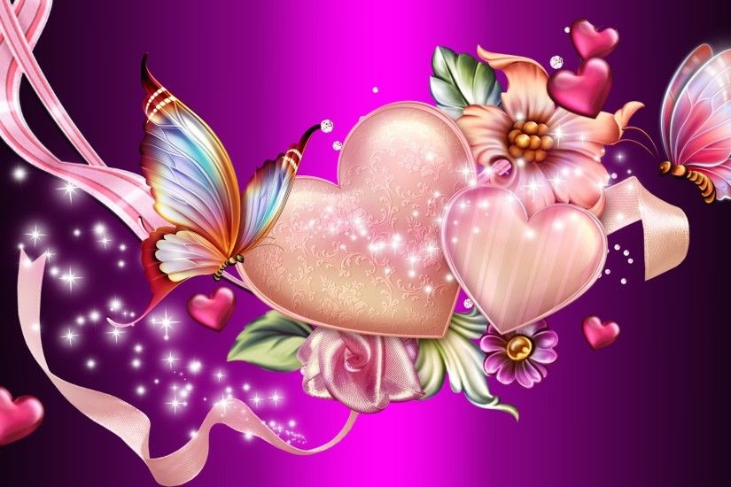 Artistic - Heart Artistic Abstract Pink Butterfly Sparkles Flower Wallpaper