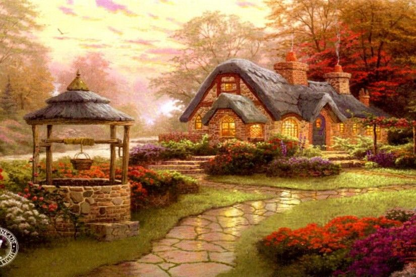 Thomas Kinkade Wallpaper, painting, art, evening, house, Kinkade .