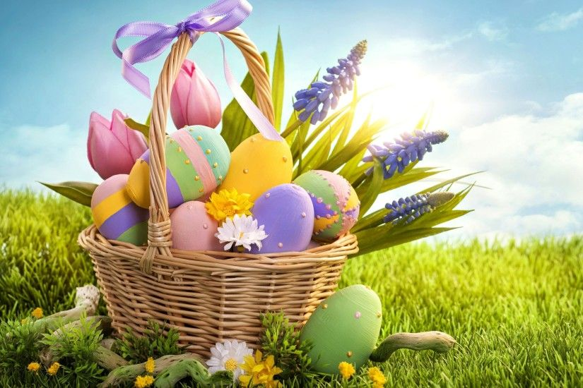 Happy Easter Eggs Basket Free Download HD Wallpaper