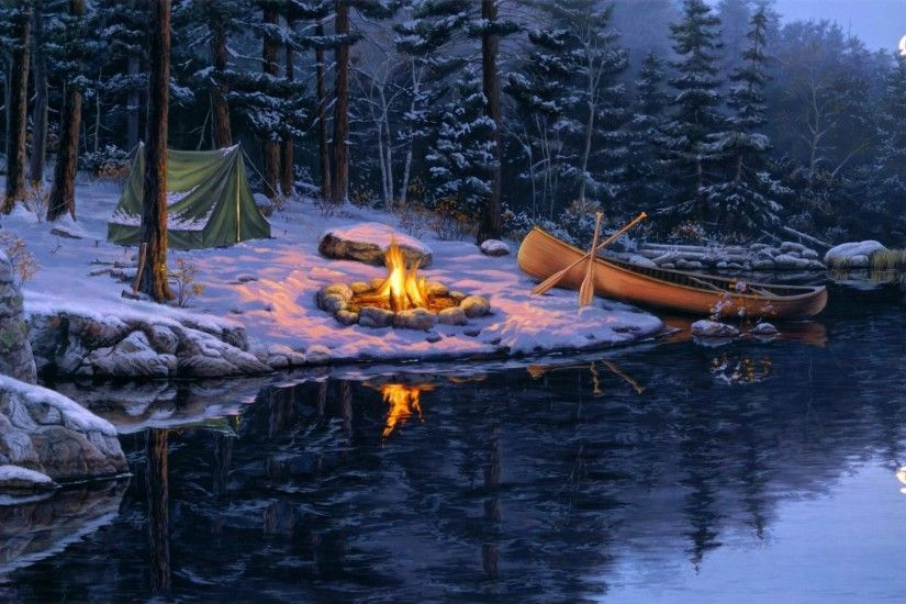 Title. Winter campfire painting art
