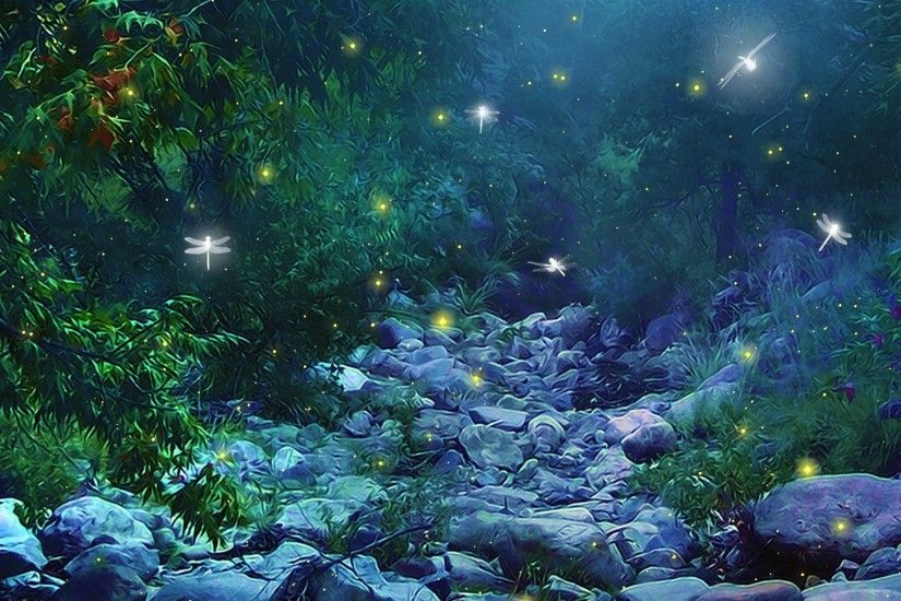 ... Trees Forest Woods Magic Insects Firefly Night Glow Lights Wallpaper ...