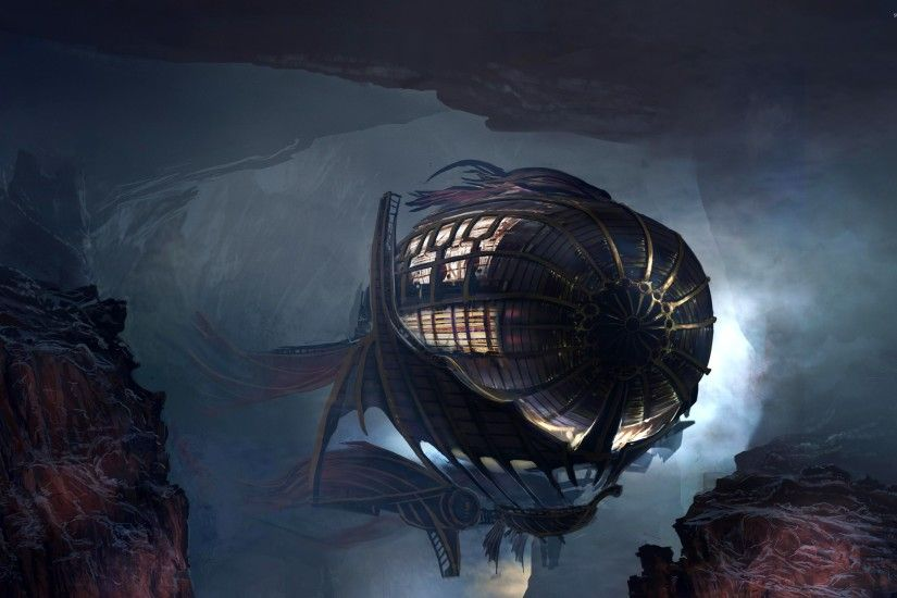 Steampunk blimp wallpaper