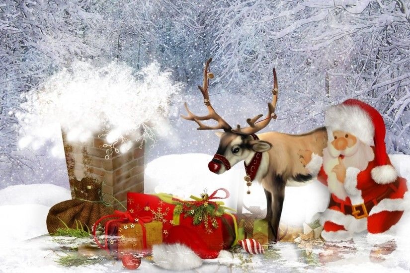 Santa and His Reindeer Desktop Wallpapers