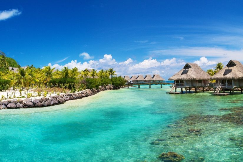 3840x2160 Wallpaper bora-bora, huts, resort, island