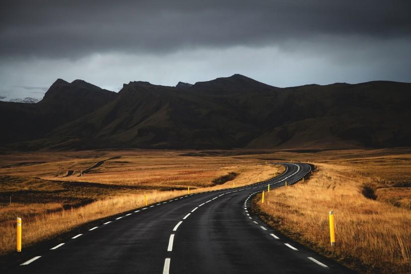 road, mountains, Iceland