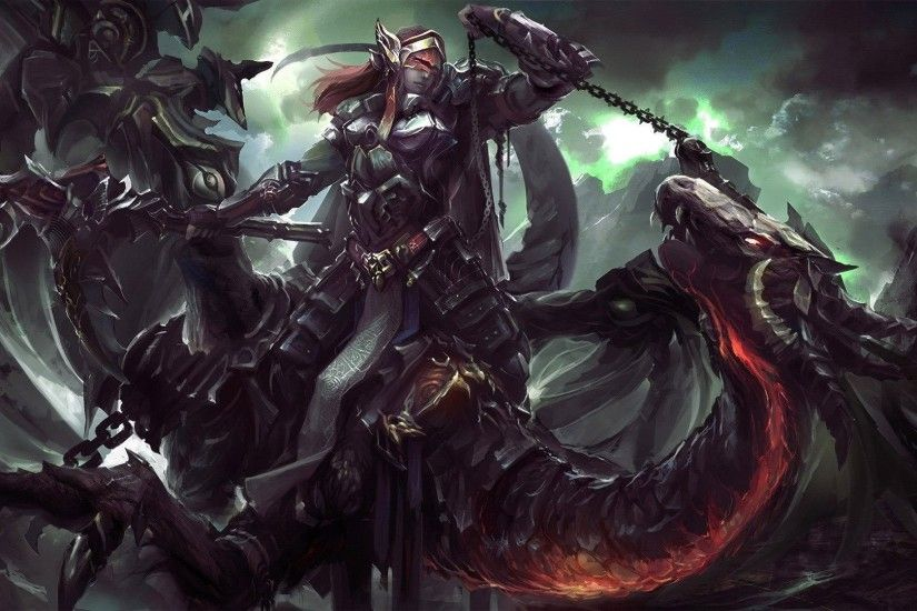Femal Warrior Riding A Dragon - WallDevil ...