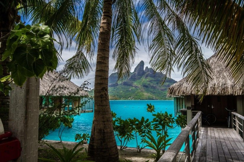 nature, Landscape, Tropical, Island, Beach, Resort, Palm Trees, Sea, Bora  Bora, Vacations, Summer, Mountain Wallpapers HD / Desktop and Mobile  Backgrounds