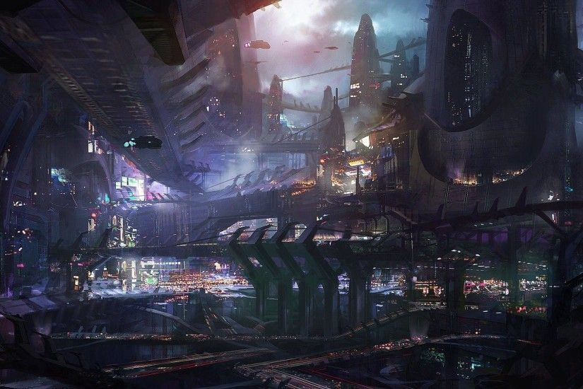 Lights in the Sci-Fi city