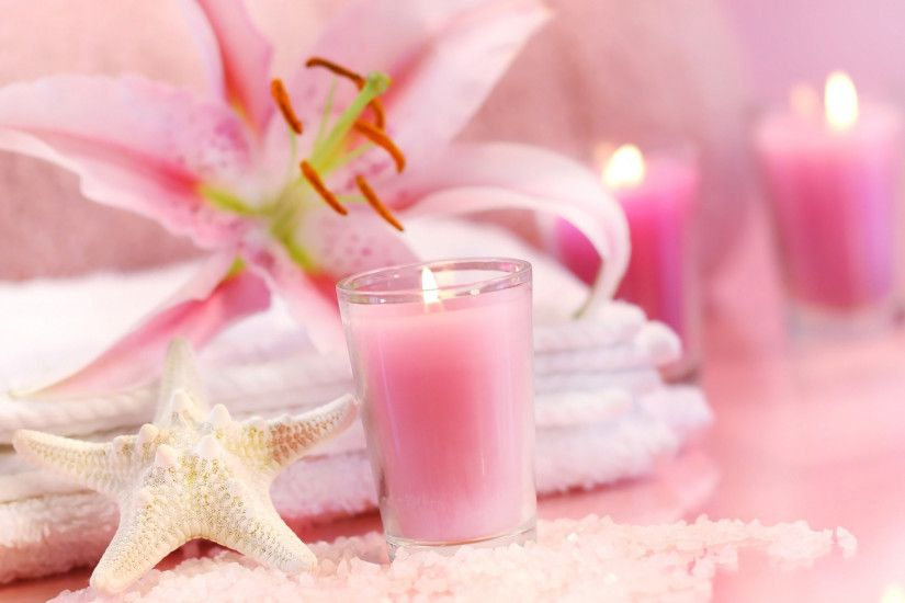 Preview wallpaper relax, beauty, candle, towel, flower, pink, relaxation  3840x2160