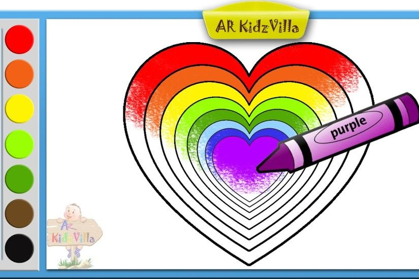Learn Colors for Kids and Color Rainbow Heart Coloring Page Pt - 38 -  YouTube