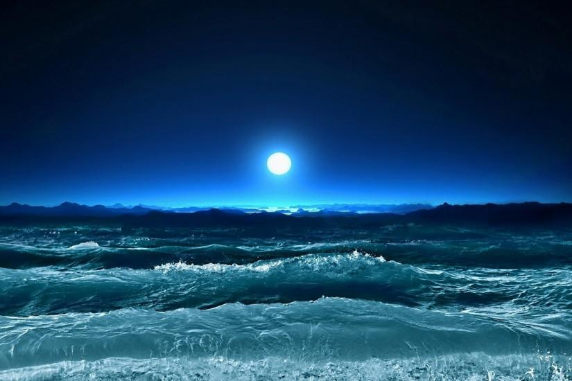 Nature Sea night sea wallpaper HD.