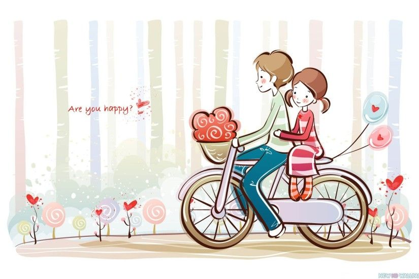 Cute Valentine Love Couple Cartoon download images of love desktop  wallpapers